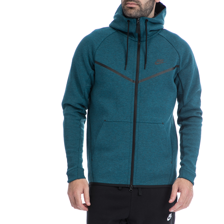 NIKE - Ανδρική ζακέτα NIKE μπλε-πράσινη ανδρικά ρούχα αθλητικά φούτερ μακρυμάνικα