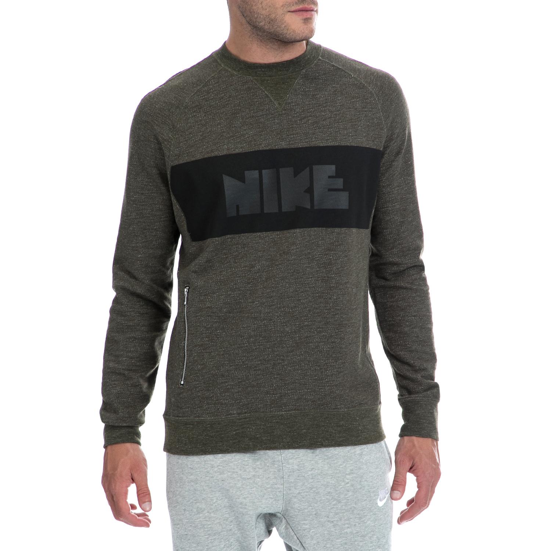 NIKE - Αντρική μπλούζα NIKE χακί ανδρικά ρούχα αθλητικά φούτερ μακρυμάνικα