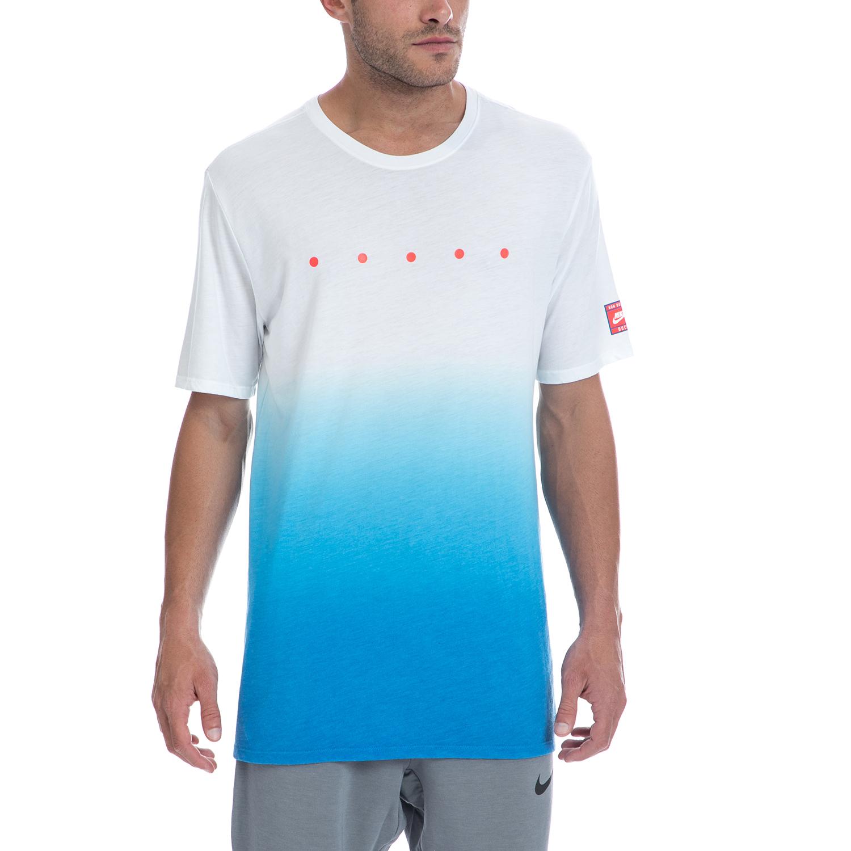 NIKE - Αντρική μπλούζα NIKE άσπρη-μπλε ανδρικά ρούχα αθλητικά t shirt