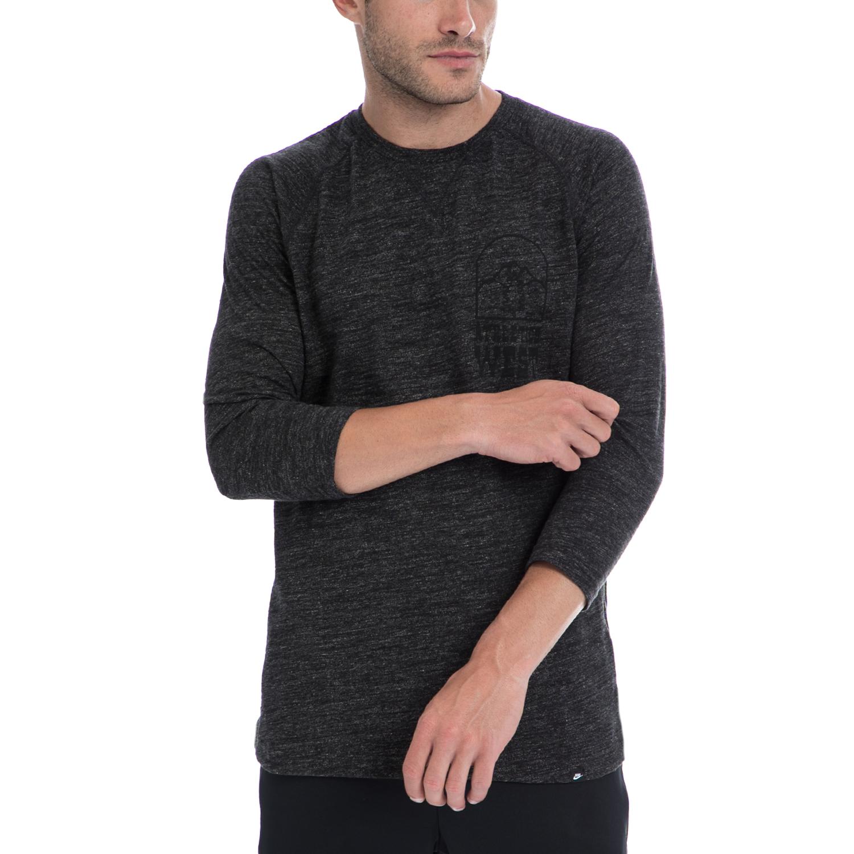 NIKE - Αντρική μπλούζα NIKE γκρι ανδρικά ρούχα αθλητικά φούτερ μακρυμάνικα