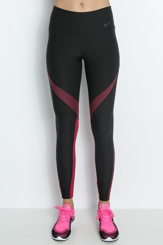 NIKE - Γυναικείο μακρύ κολάν Nike μαύρο-μπορντό γυναικεία ρούχα αθλητικά κολάν