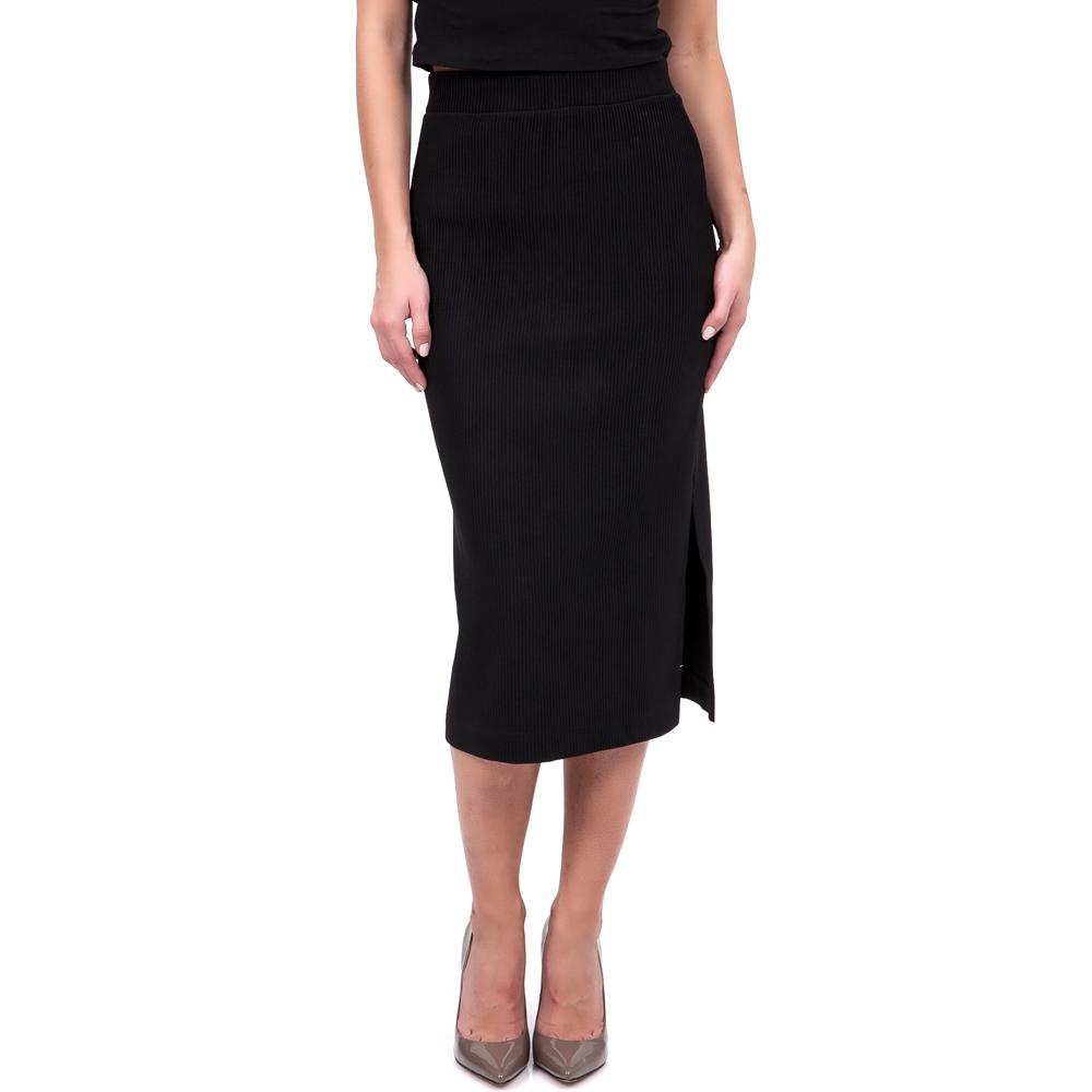 TEA & ROSE - Γυναικεία φούστα Tea & Rose μαύρη γυναικεία ρούχα φούστες μέχρι το γόνατο