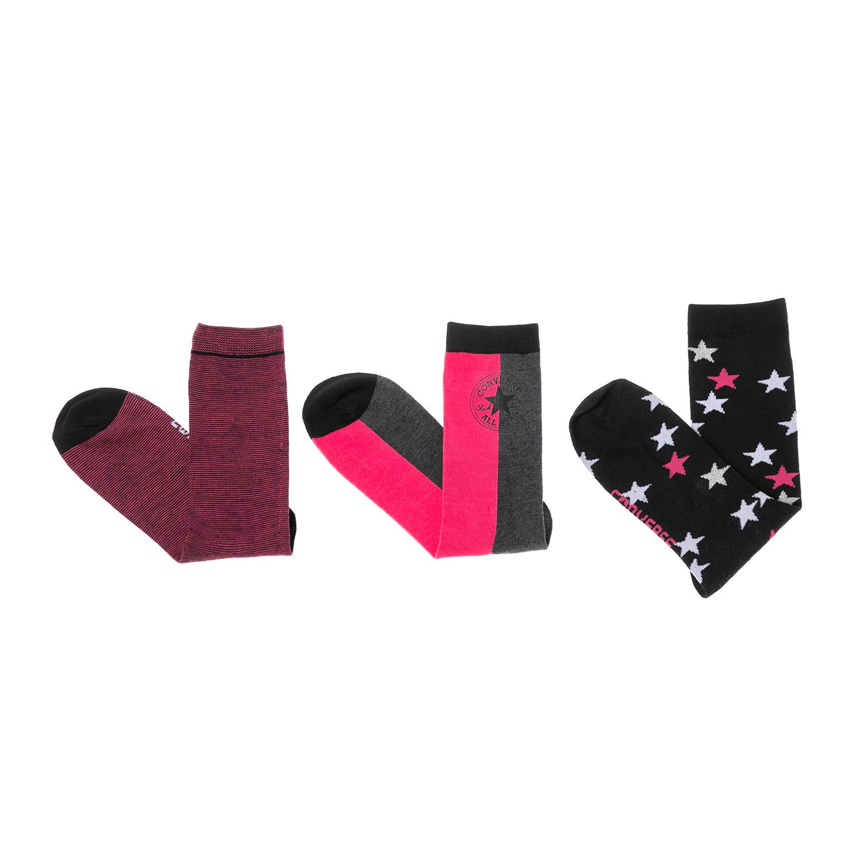 CONVERSE – Γυναικείο σετ κάλτσες CONVERSE ροζ-μαύρο-γκρι