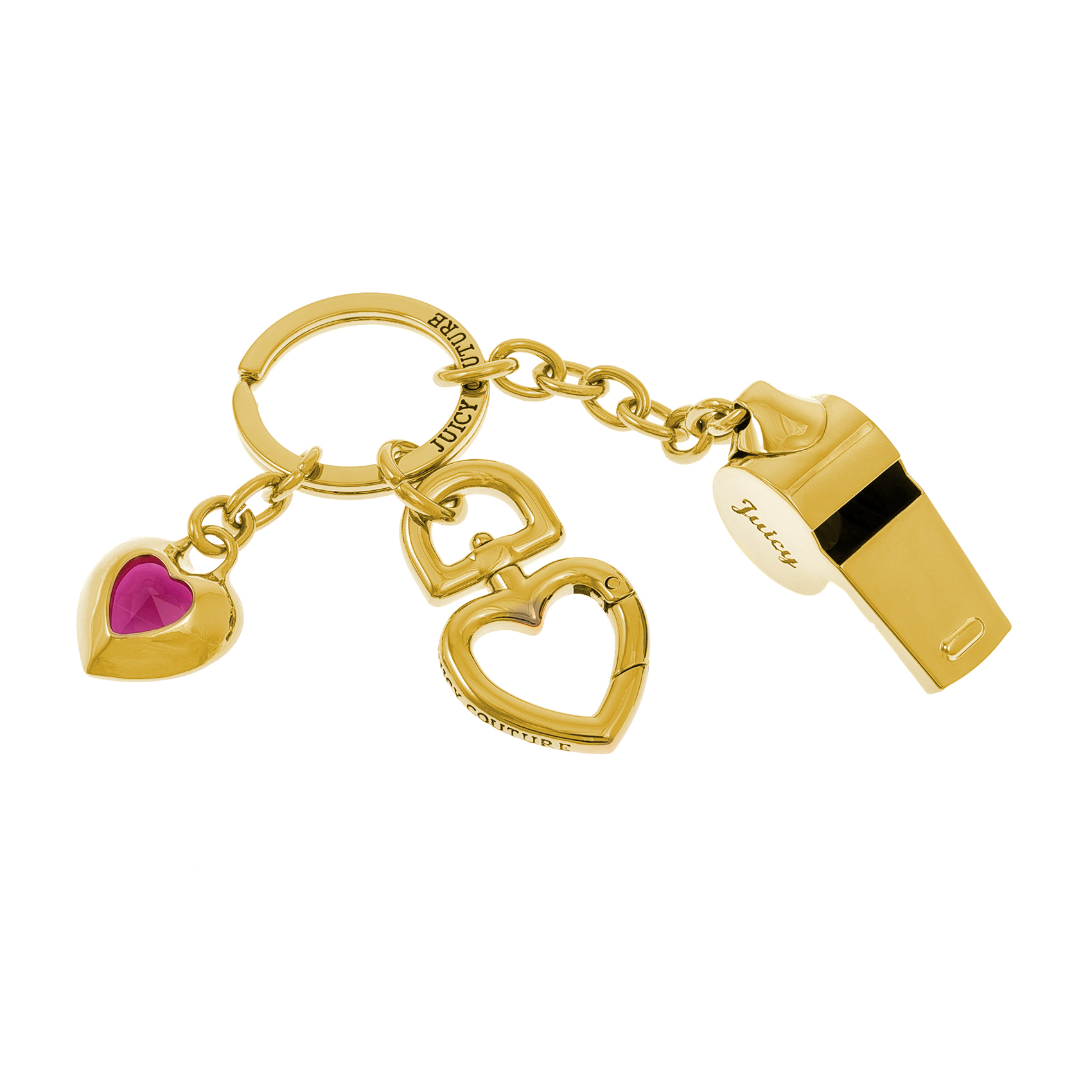 JUICY COUTURE – Μπρελόκ σφυρίχτρα JUICY COUTURE χρυσό-ροζ