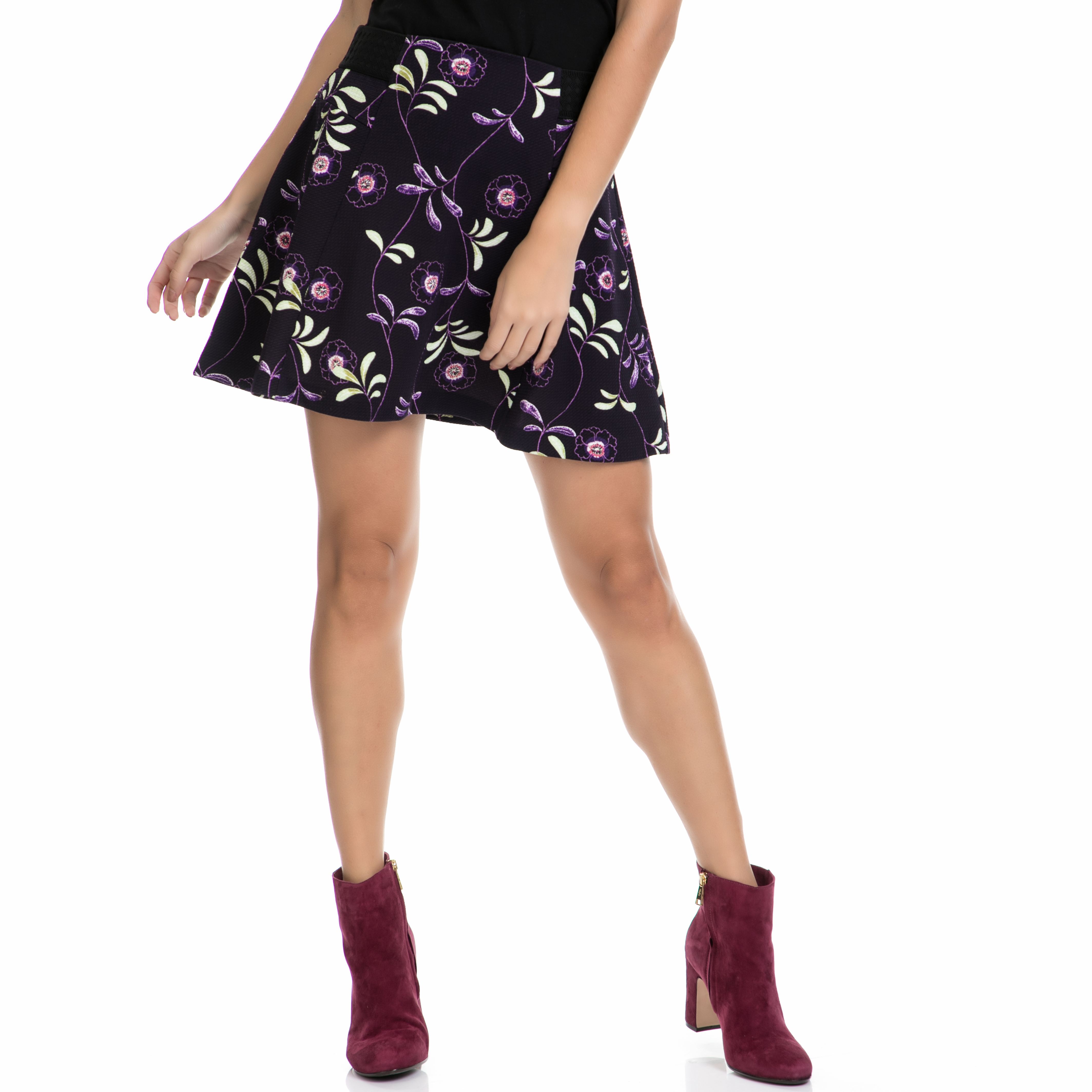 JUICY COUTURE – Γυναικεία φούστα KNT ROMA FLORAL TEXTURE FLIRTY μωβ