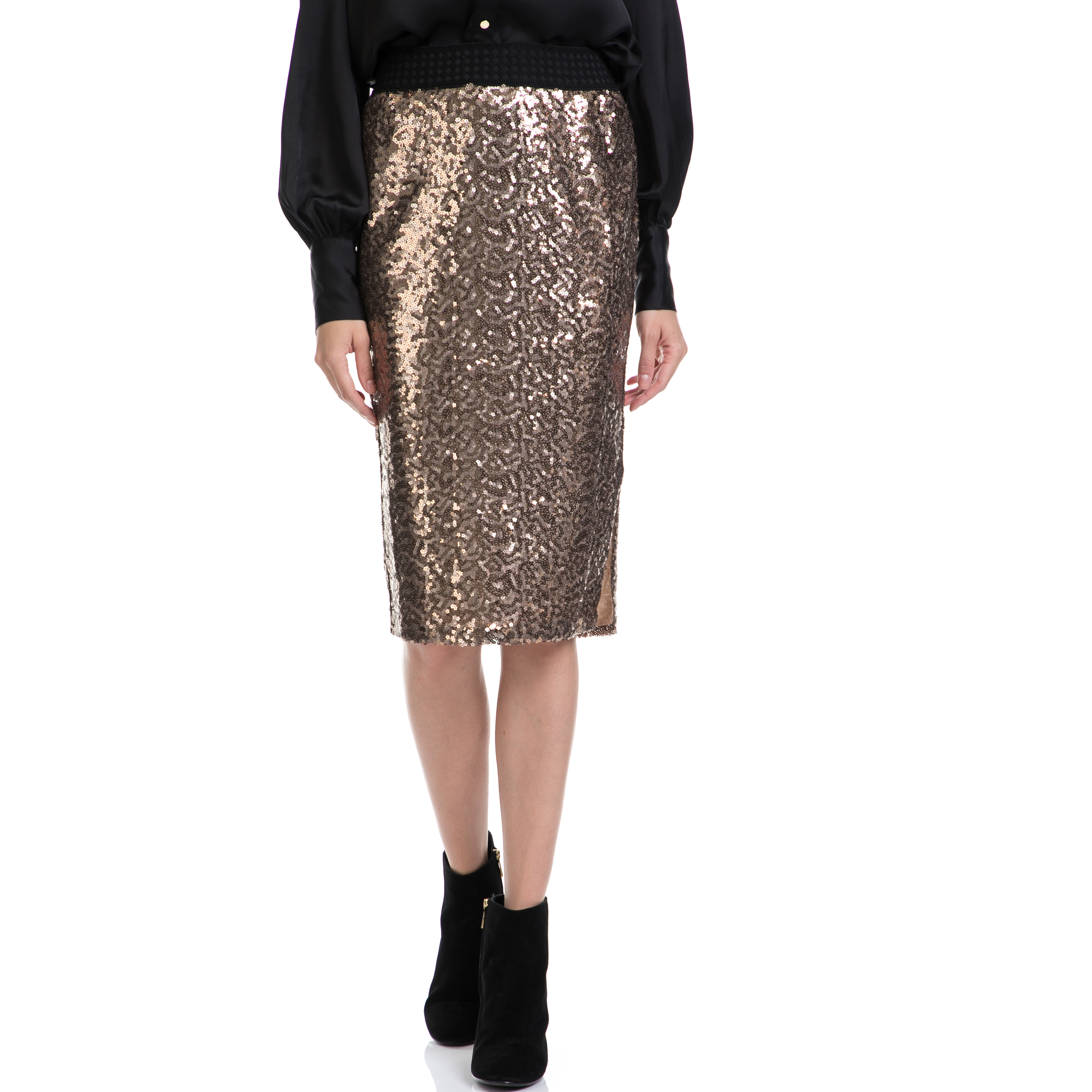 JUICY COUTURE - Γυναικεία φούστα JUICY COUTURE χρυσή γυναικεία ρούχα φούστες μέχρι το γόνατο