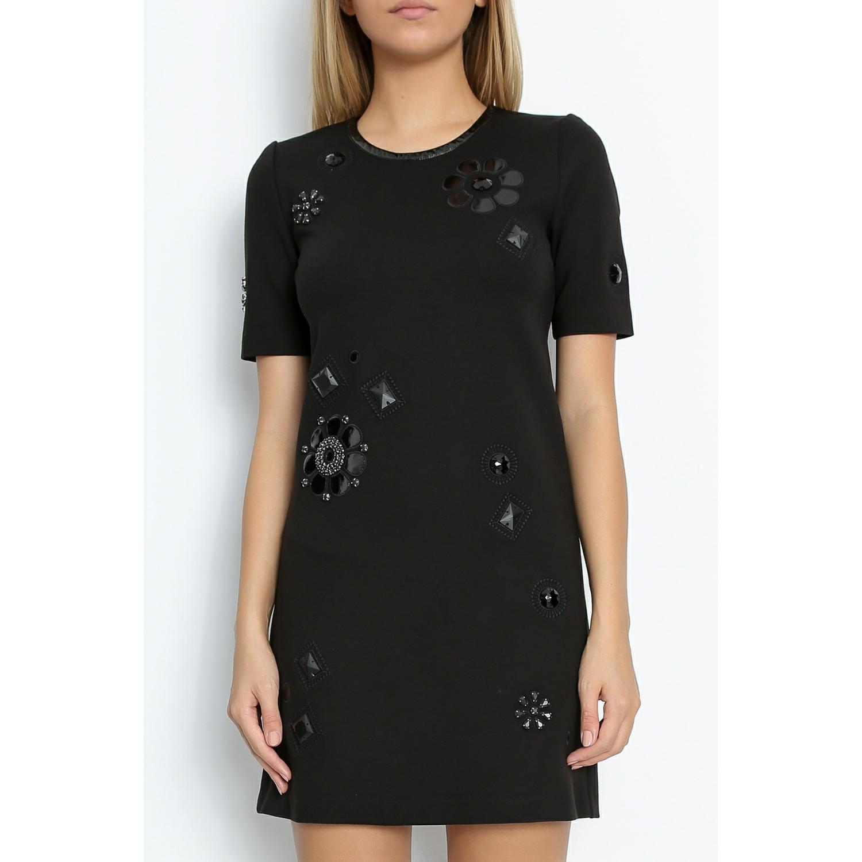 JUICY COUTURE - Μίνι φόρεμα JUICY PONTE EMBELLISHED DRESS μαύρο γυναικεία ρούχα φορέματα μίνι