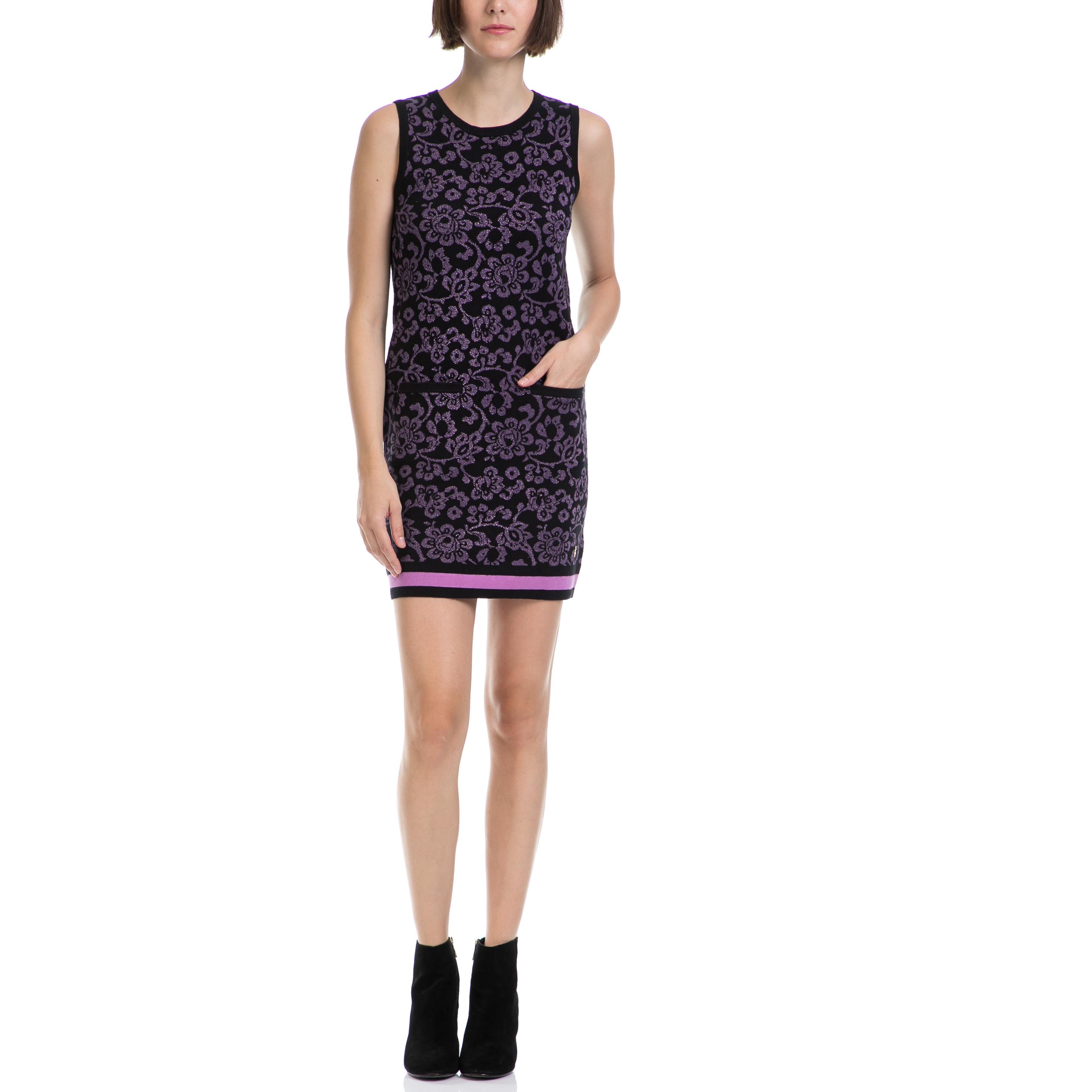 JUICY COUTURE - Γυναικείο φόρεμα JUICY COUTURE μαύρο-μοβ γυναικεία ρούχα φορέματα μίνι