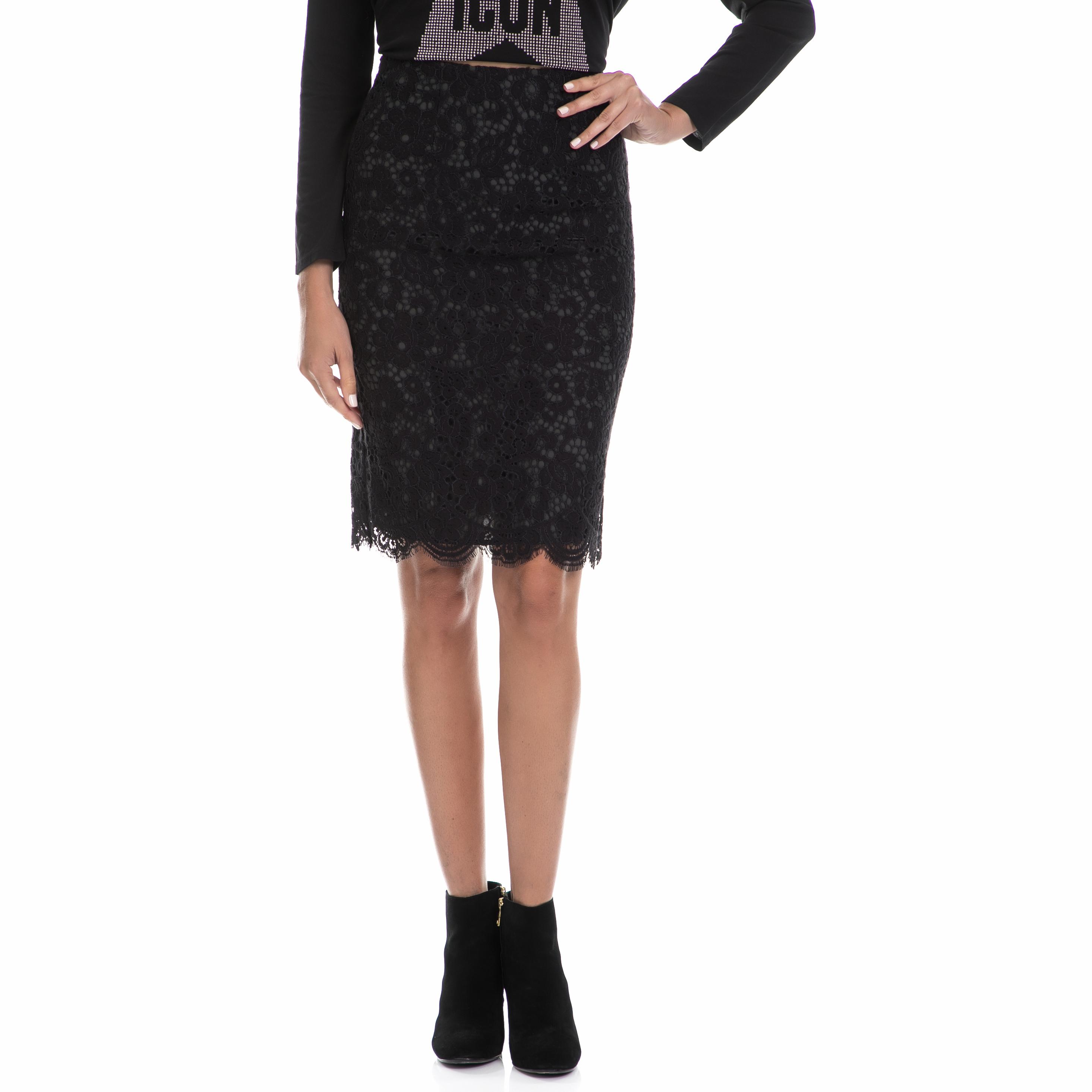 JUICY COUTURE - Γυναικεία φούστα BUCHAREST FLORAL LACE μαύρη γυναικεία ρούχα φούστες μέχρι το γόνατο