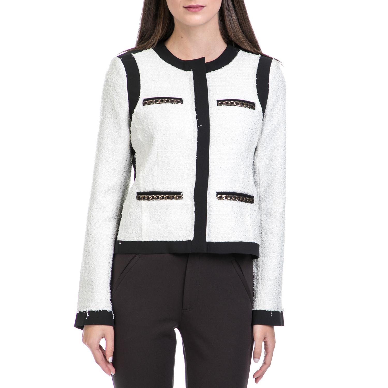 JUICY COUTURE – Γυναικείο σακάκι HW PAPER TWEED JACKET μαύρο-λευκό