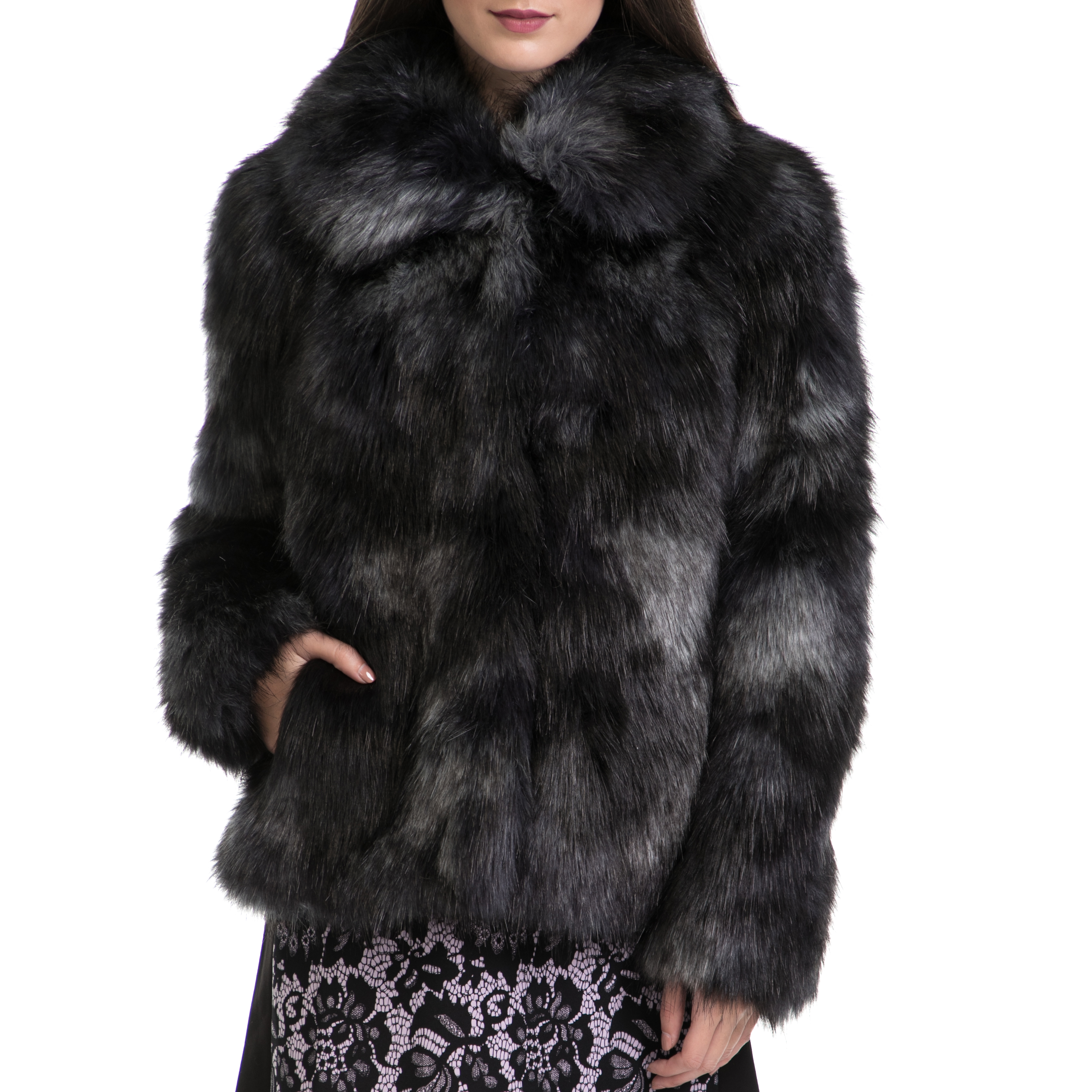 JUICY COUTURE – Γυναικείο παλτό MULTICOLOR FAUX FUR COAT μαύρο-γκρι