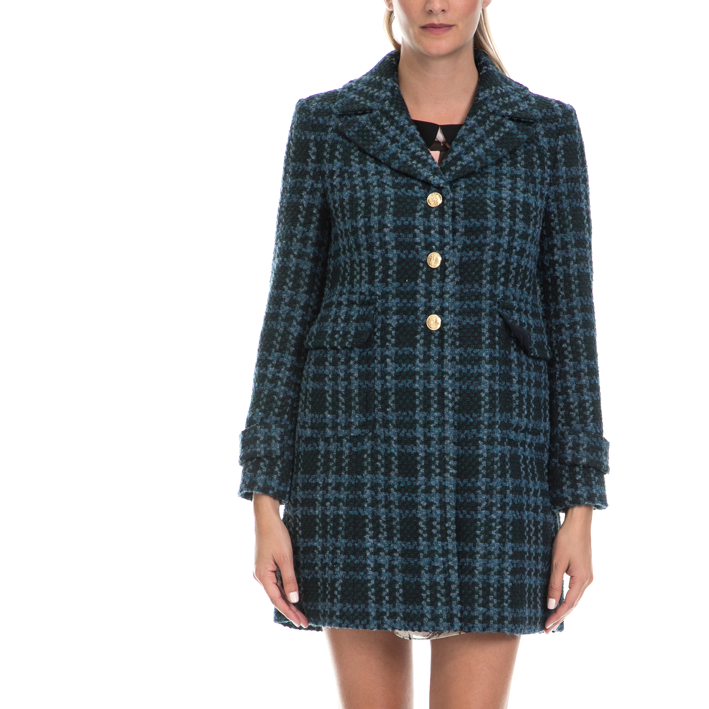 JUICY COUTURE – Γυναικείο παλτό BASKETWEAVE PLAID COAT πράσινο