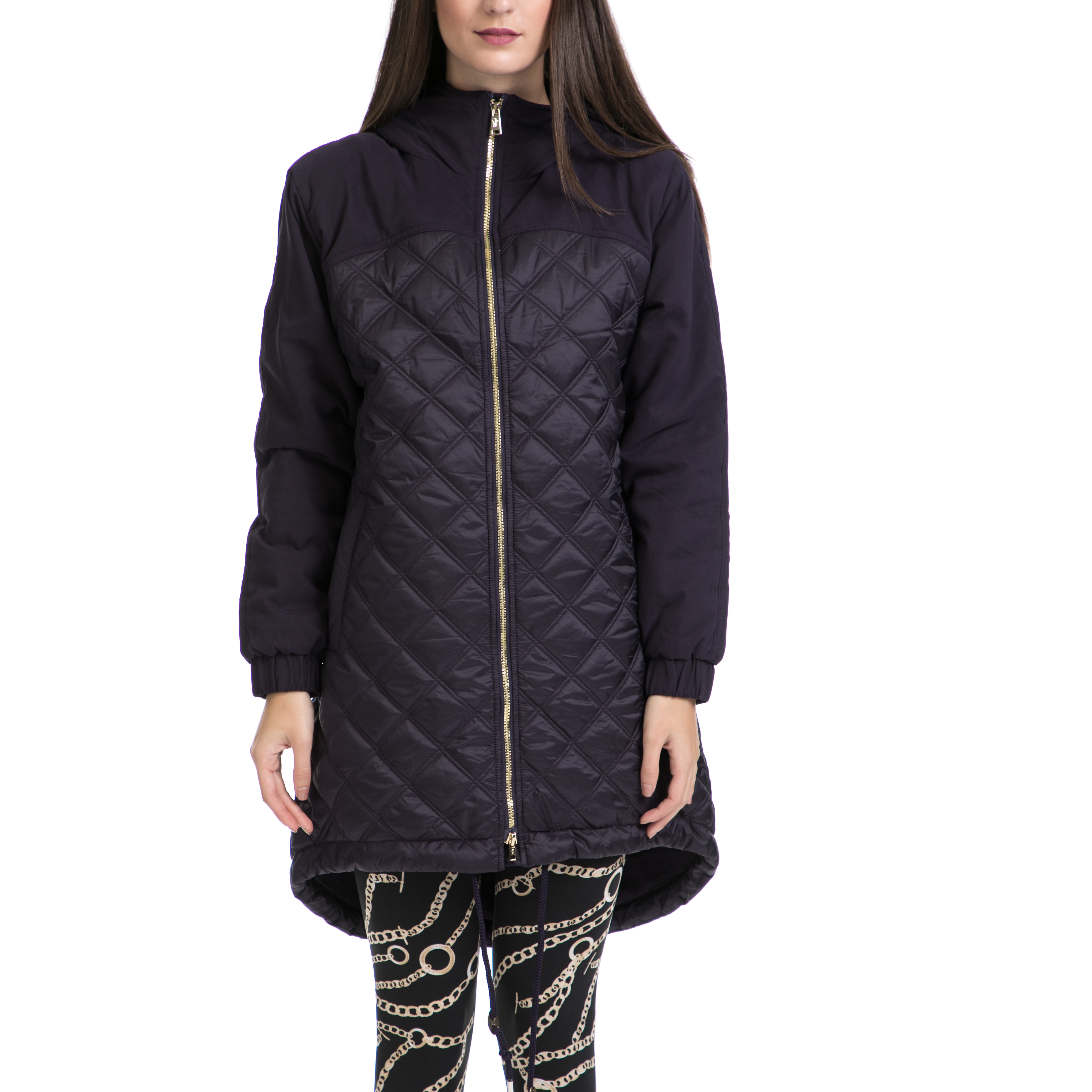 JUICY COUTURE – Γυναικείο παρκά QUILTED NYLON PUFFER PARKA μαύρο-μπλε