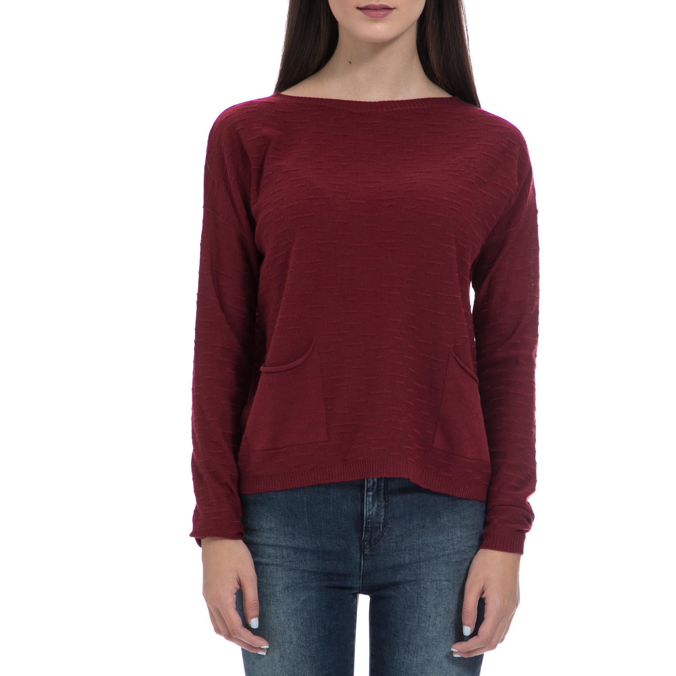 GAS - Γυναικεία μπλούζα GAS μπορντό γυναικεία ρούχα πλεκτά ζακέτες πουλόβερ