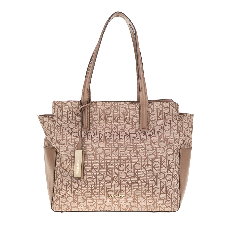 CALVIN KLEIN JEANS – Γυναικεία τσάντα NIN4 LOGO EW TOTE μπεζ 1480437.0-00K4