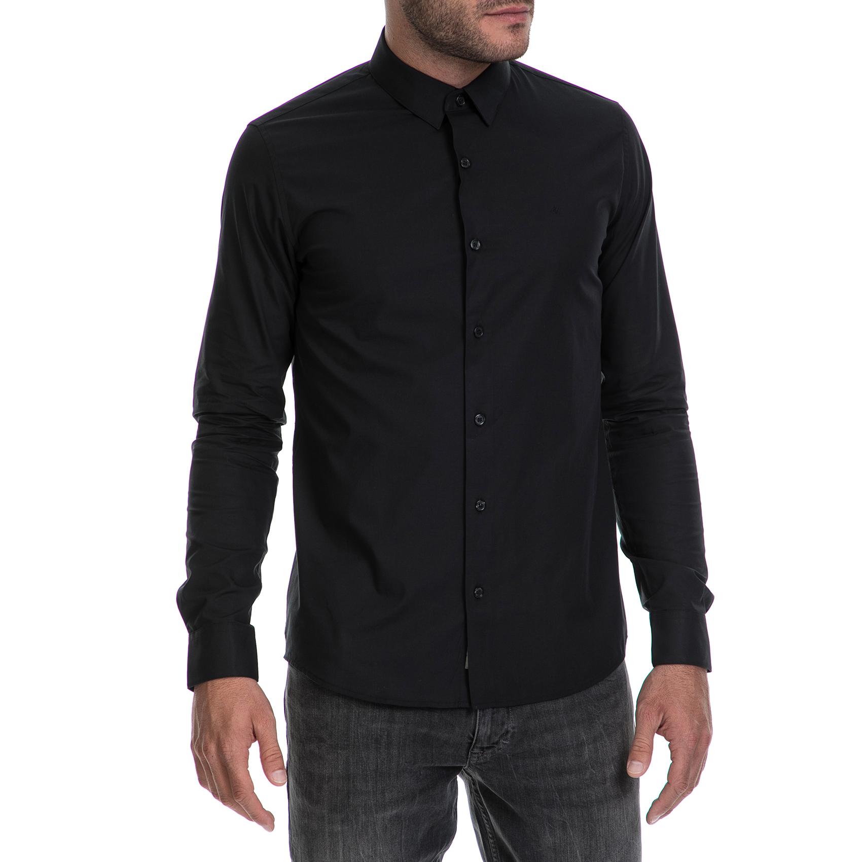 CALVIN KLEIN JEANS – Ανδρικό πουκάμισο BARI SLIM FIT μαύρο