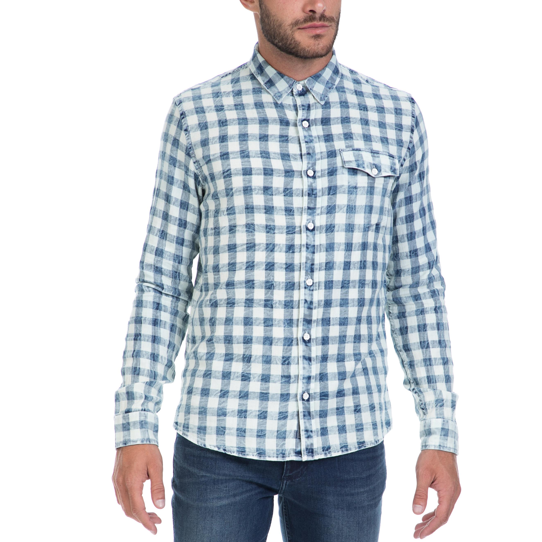 CALVIN KLEIN JEANS - Αντρικό πουκάμισο CALVIN KLEIN JEANS άσπρο-μπλε ανδρικά ρούχα πουκάμισα μακρυμάνικα