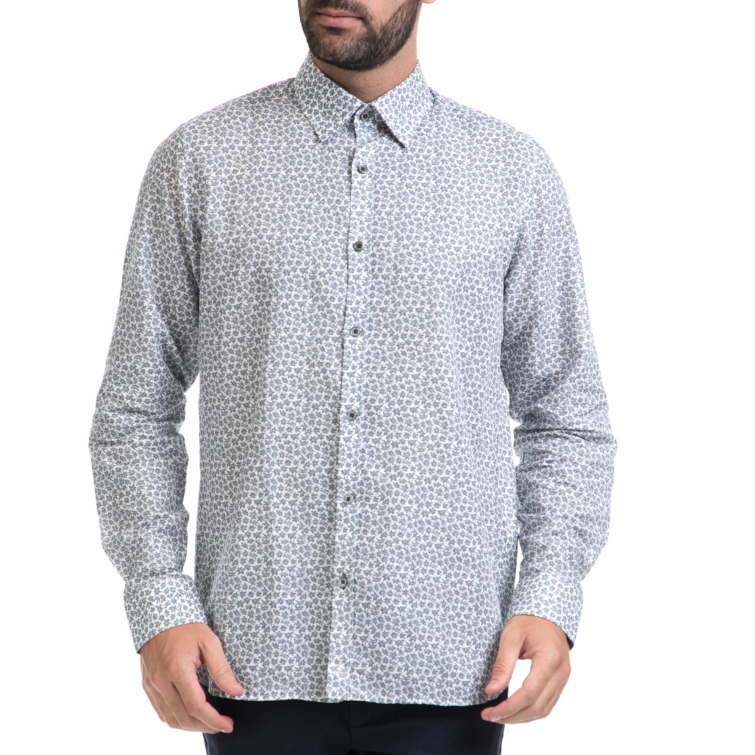 TED BAKER - Αντρικό πουκάμισο TED BAKER άσπρο-γκρι ανδρικά ρούχα πουκάμισα μακρυμάνικα