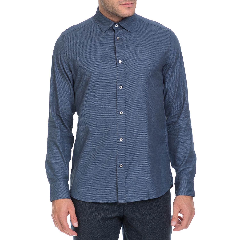 TED BAKER - Ανδρικό πουκάμισο FOOREAL TED BAKER μπλε ανδρικά ρούχα πουκάμισα μακρυμάνικα