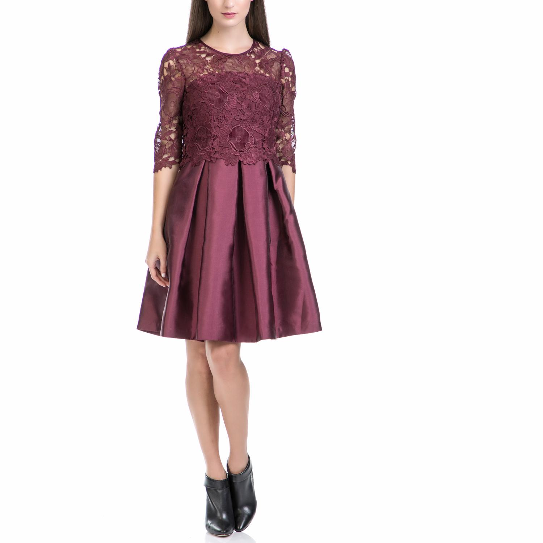 TED BAKER - Φόρεμα MAARIA μπορντώ γυναικεία ρούχα φορέματα μίνι