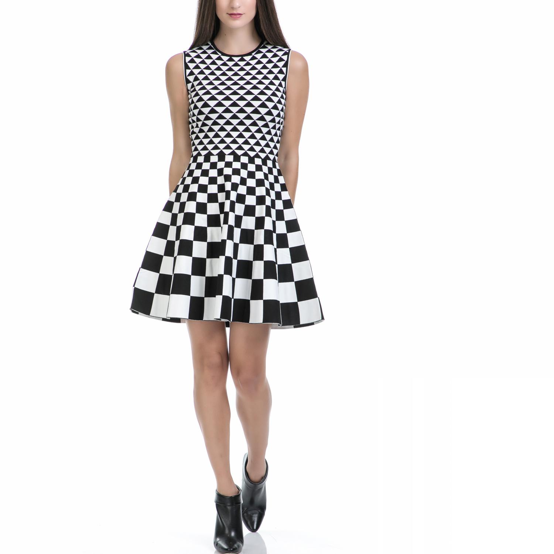 TED BAKER - Φόρεμα LOWREL λευκό-μαύρο γυναικεία ρούχα φορέματα μίνι