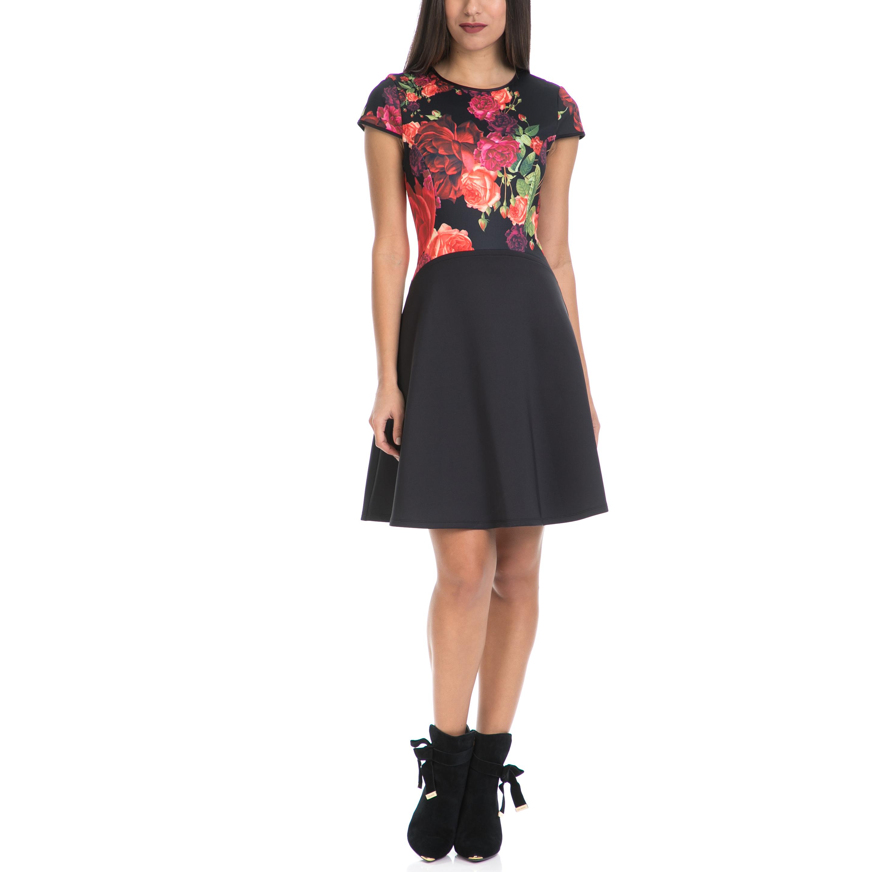 TED BAKER - Γυναικείο φόρεμα XYLEE TED BAKER μαύρο-εμπριμέ γυναικεία ρούχα φορέματα μίνι