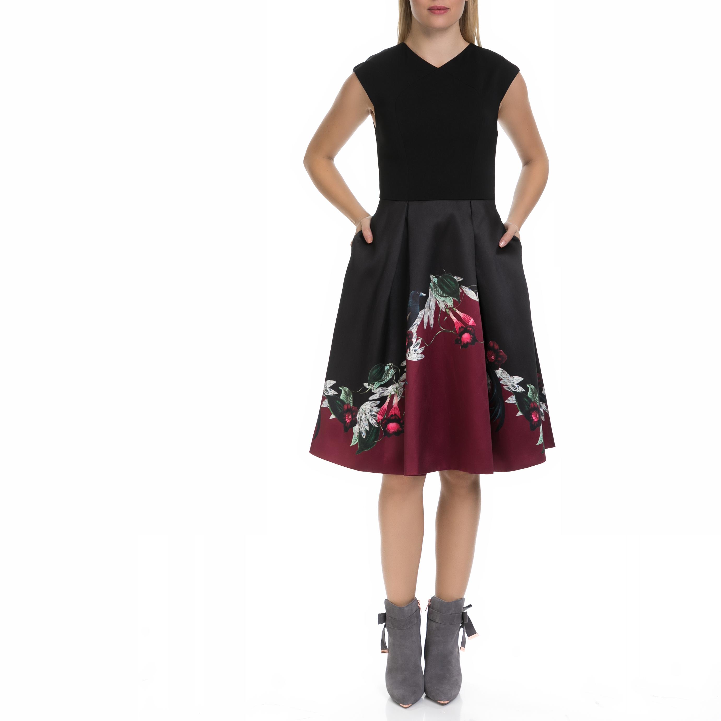 TED BAKER - Γυναικείο φόρεμα MHIA TED BAKER μαύρο-εμπριμέ γυναικεία ρούχα φορέματα μέχρι το γόνατο