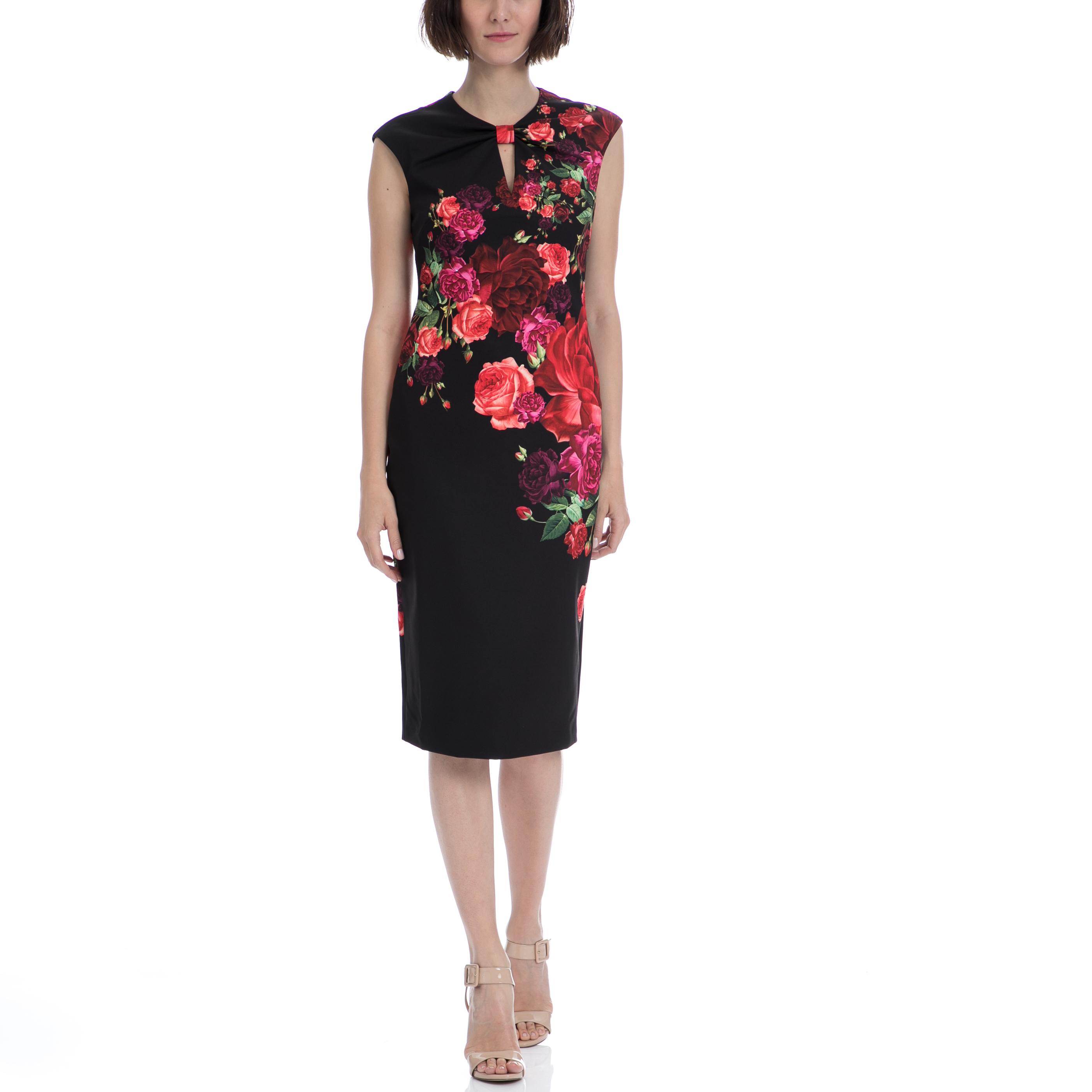 TED BAKER - Μίντι φόρεμα TED BAKER MIRRIE JUXTAPOSE ROSE KNOT DRESS μαύρο φλοράλ