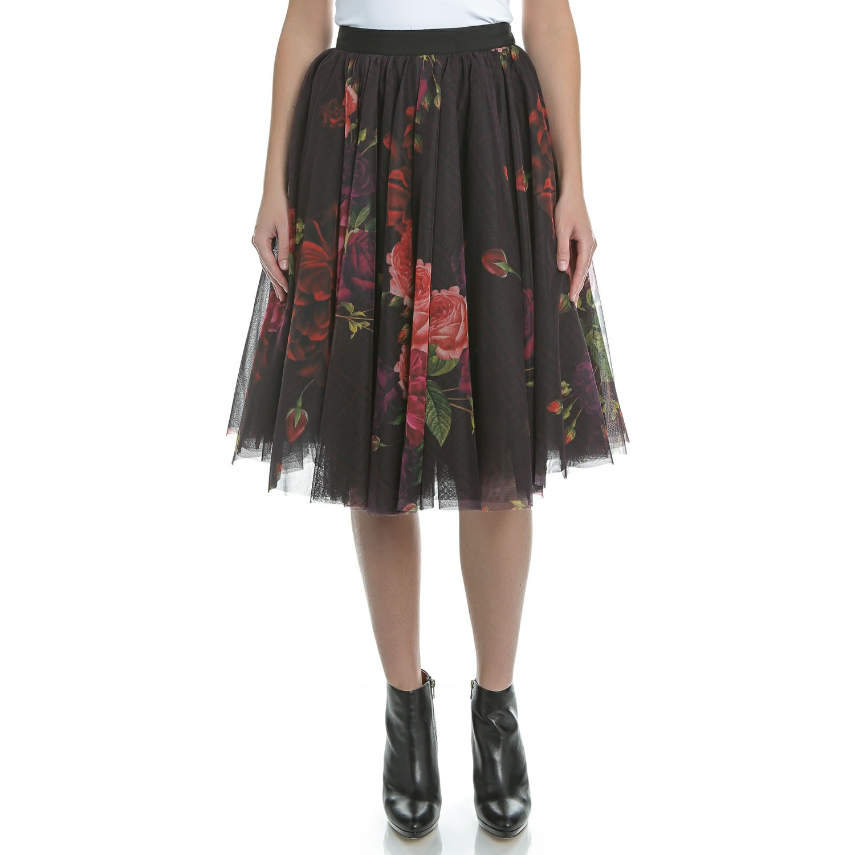 TED BAKER - Μίντι φούστα TED BAKER ONDRA JUXTAPOSE μαύρη φλοράλ γυναικεία ρούχα φούστες μίνι