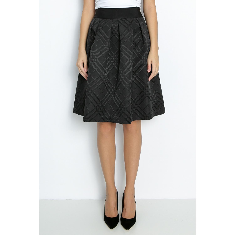 TED BAKER - Μίνί φούστα TED BAKER MANSII ζακάρ μαύρη γυναικεία ρούχα φούστες μέχρι το γόνατο