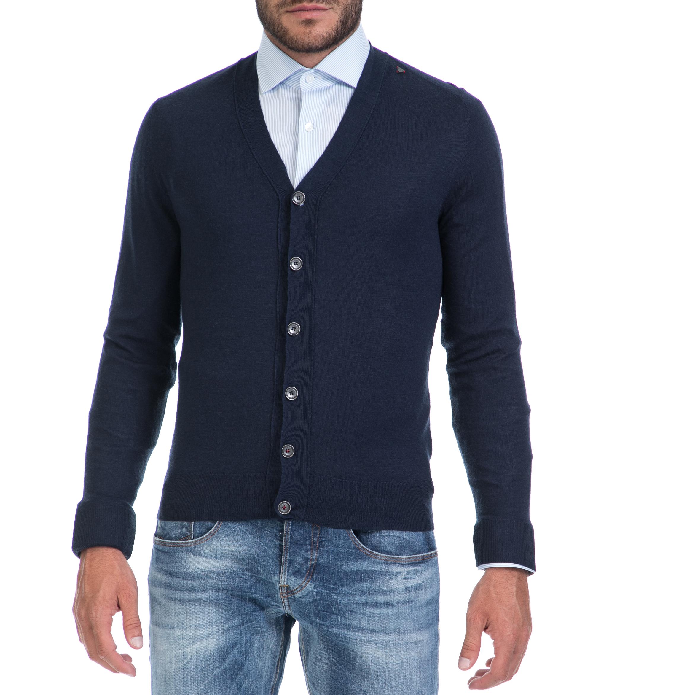 GUESS - Αντρική ζακέτα GUESS μπλε ανδρικά ρούχα πλεκτά ζακέτες ζακέτες