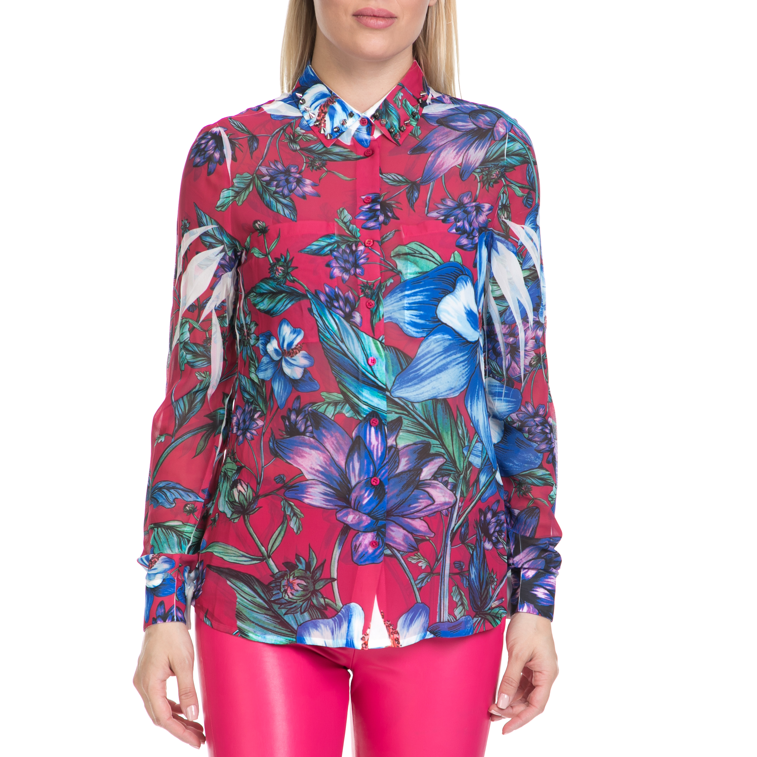 GUESS – Γυναικείο πουκάμισο CLOUIS GUESS ροζ-εμπριμέ