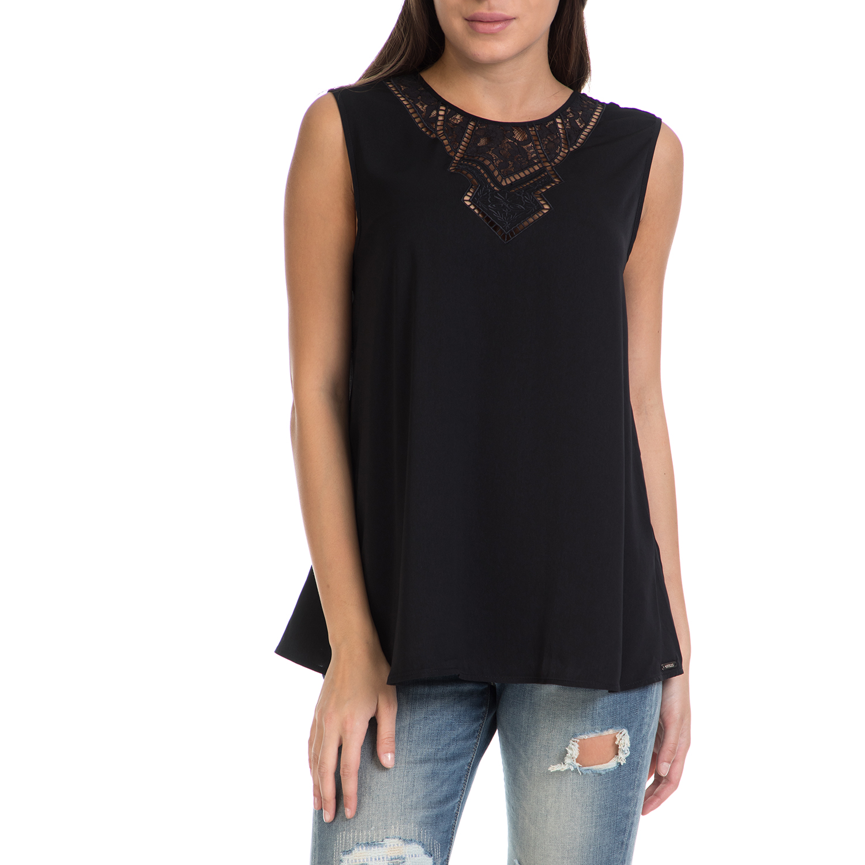 GUESS – Γυναικεία αμάνικη μπλούζα JOSEFIN GUESS μαύρη