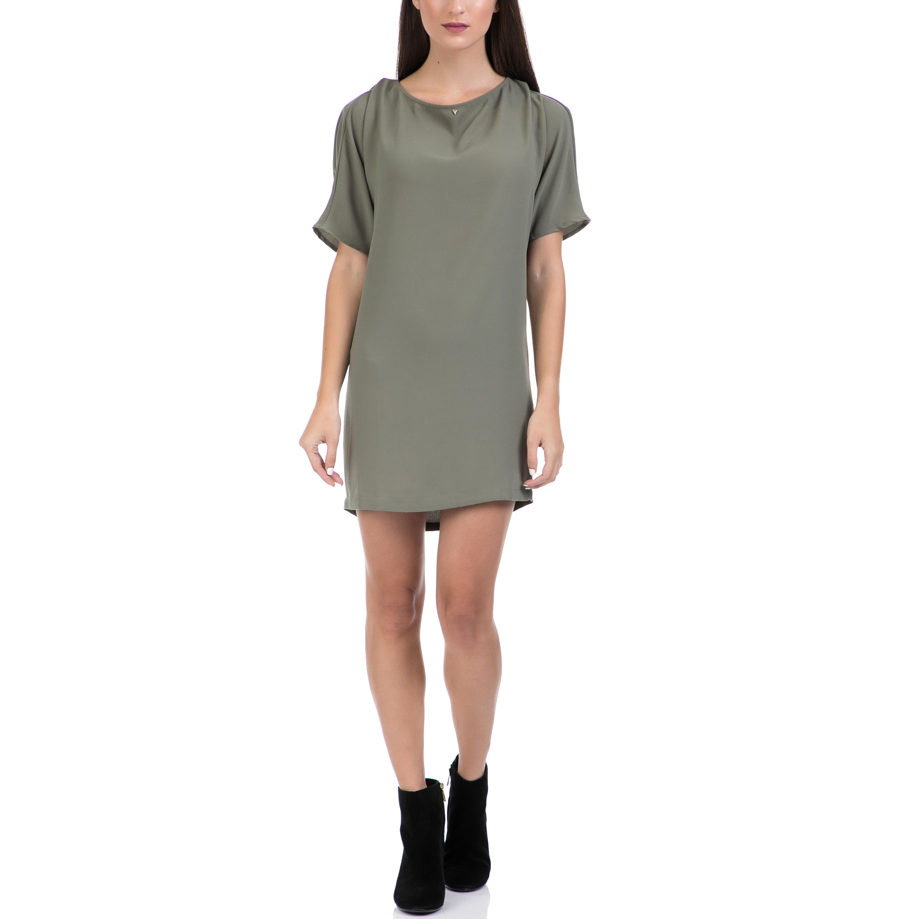GUESS - Γυναικείο φόρεμα GUESS λαδί γυναικεία ρούχα φορέματα μίνι