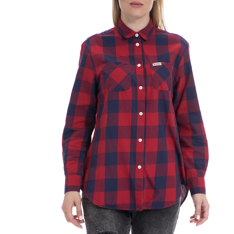 FRANKLIN & MARSHALL - Γυναικείο πουκάμισο FRANKLIN & MARSHALL μπλε-κόκκινο γυναικεία ρούχα πουκάμισα μακρυμάνικα