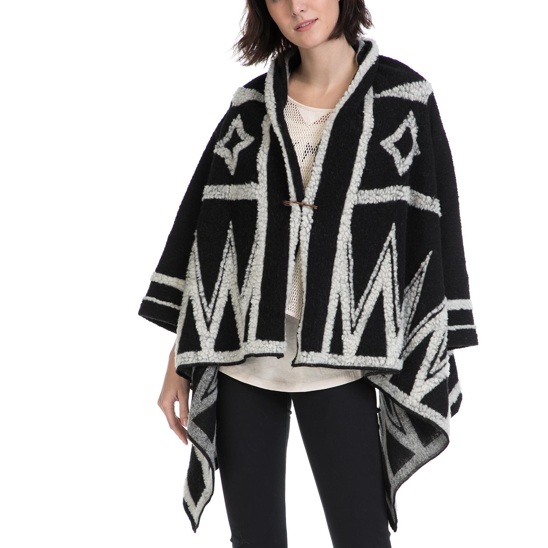 SCOTCH & SODA - Γυναικείο πόντσο MAISON SCOTCH γκρι-μαύρο γυναικεία ρούχα πανωφόρια