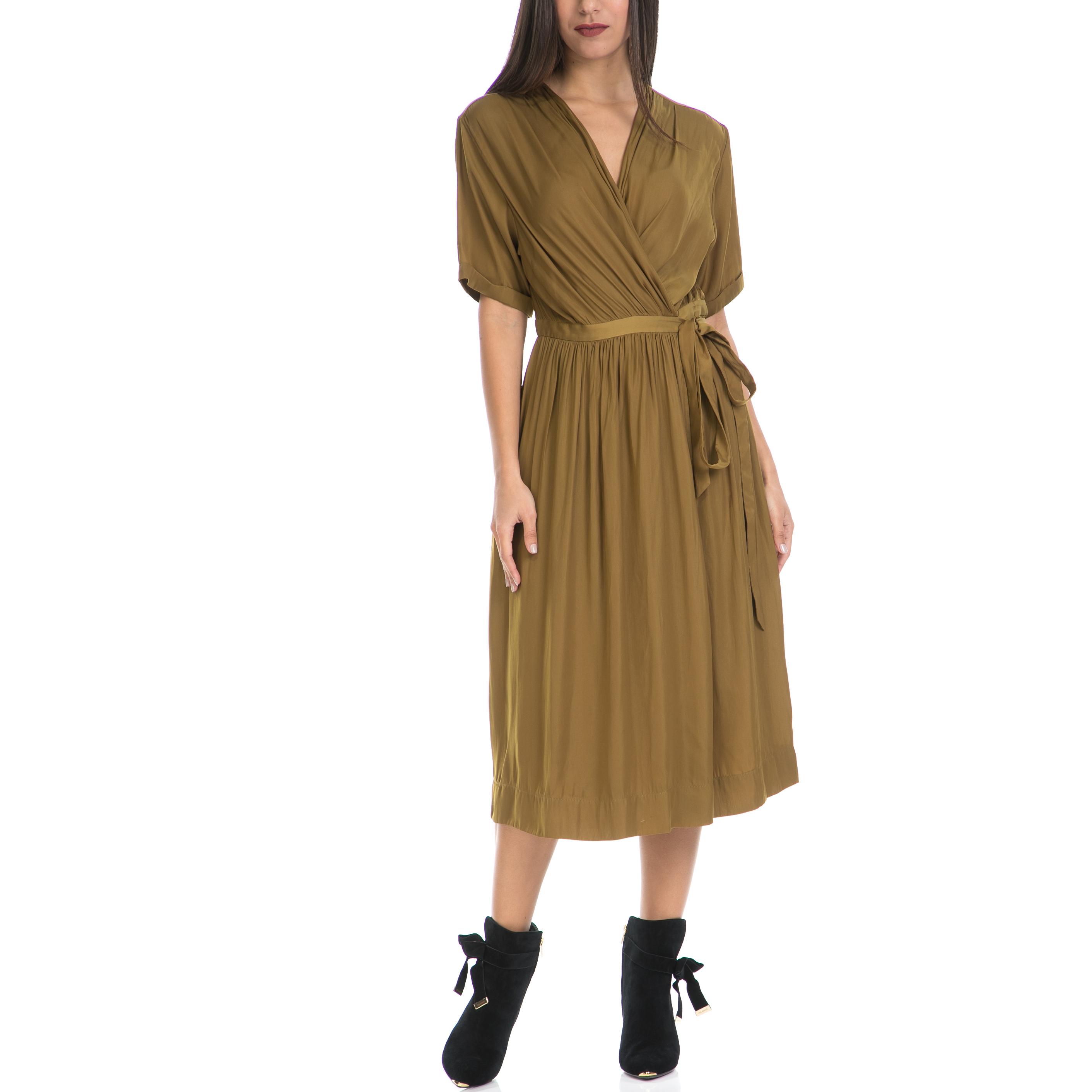 MAISON SCOTCH - Γυναικείο φόρεμα MAISON SCOTCH χακί γυναικεία ρούχα φορέματα μάξι