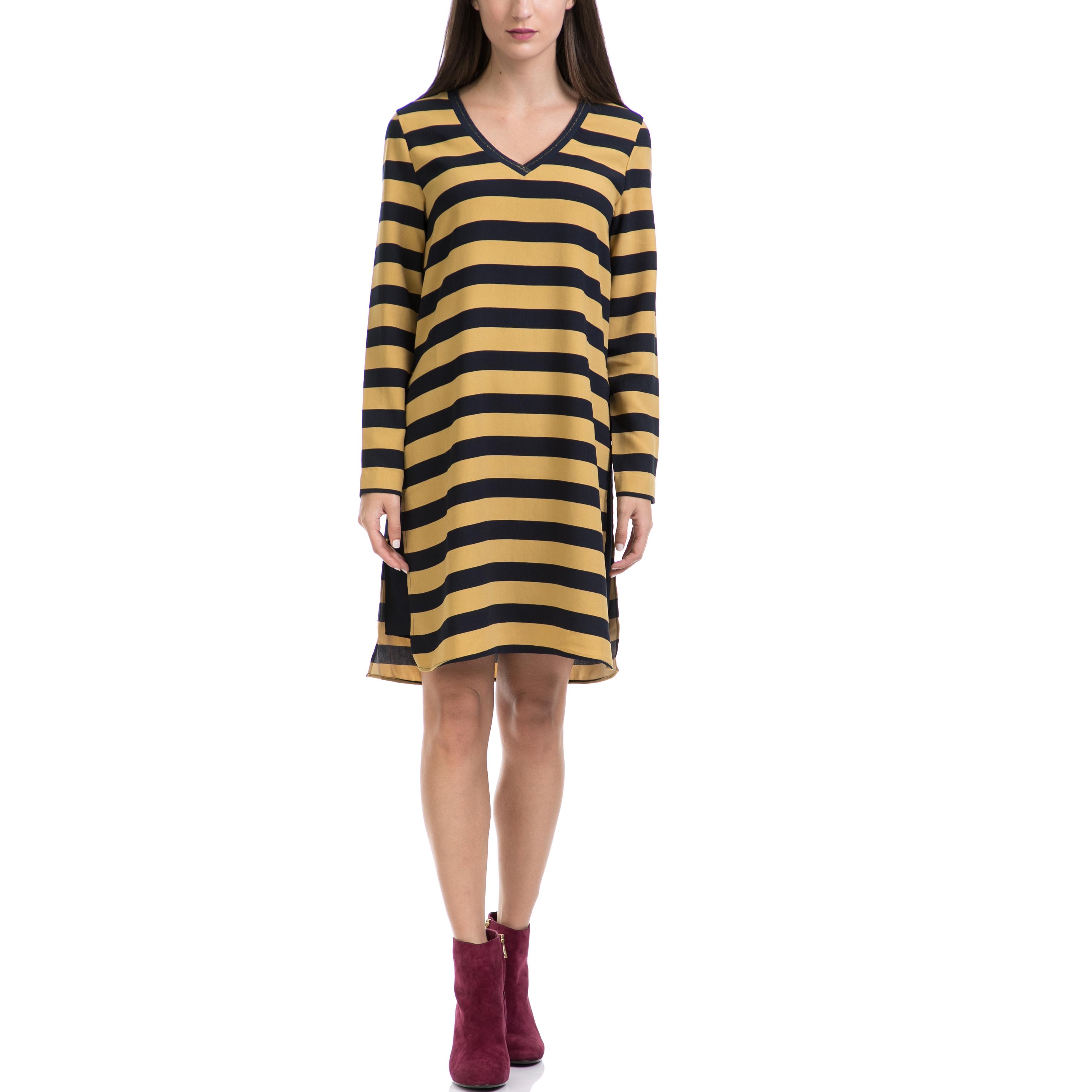 MAISON SCOTCH - Γυναικείο φόρεμα MAISON SCOTCH μαύρο-κίτρινο γυναικεία ρούχα φορέματα μέχρι το γόνατο