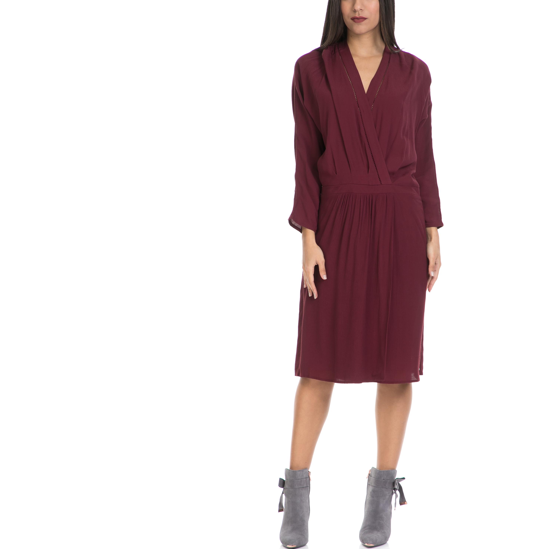 MAISON SCOTCH - Γυναικείο φόρεμα MAISON SCOTCH μπορντό γυναικεία ρούχα φορέματα μέχρι το γόνατο