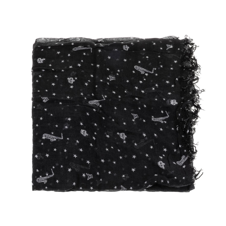 MAISON SCOTCH - Γυναικείο φουλάρι MAISON SCOTCH μαύρο-γκρι γυναικεία αξεσουάρ φουλάρια κασκόλ γάντια