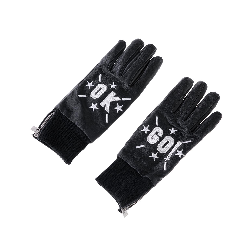 MAISON SCOTCH - Δερμάτινα γάντια MAISON SCOTCH μαύρα γυναικεία αξεσουάρ φουλάρια κασκόλ γάντια
