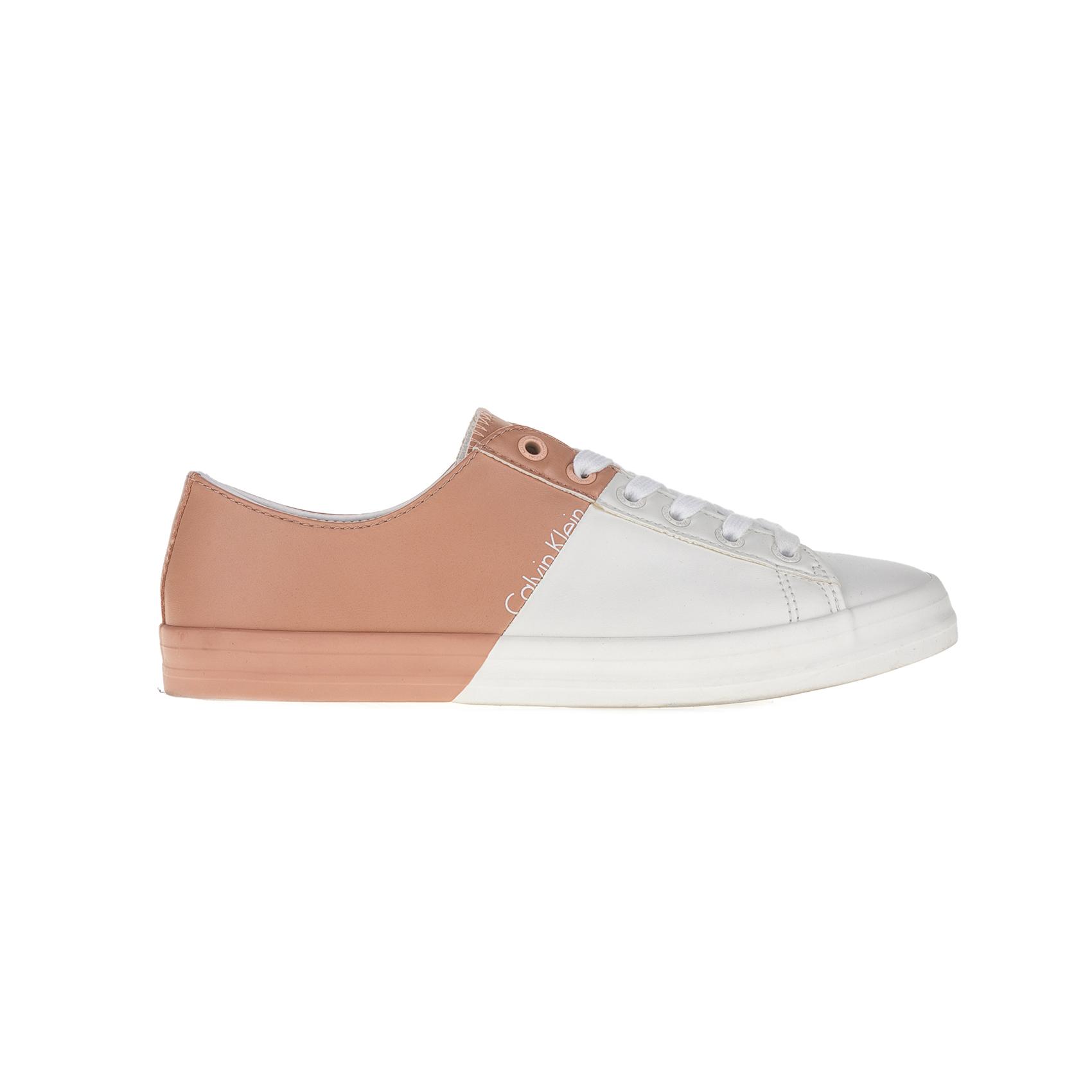 CALVIN KLEIN JEANS – Γυναικεία sneakers CALVIN KLEIN JEANS λευκά-μπεζ