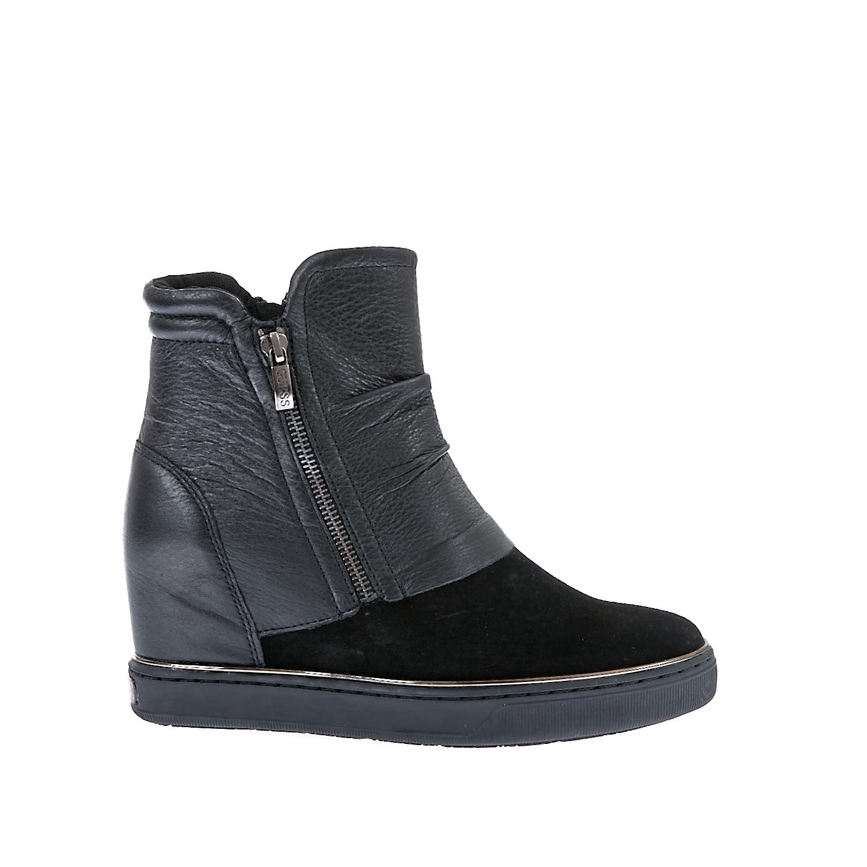 GUESS - Γυναικεία μποτάκια Guess μαύρα- γκρι γυναικεία παπούτσια μπότες μποτάκια μποτάκια