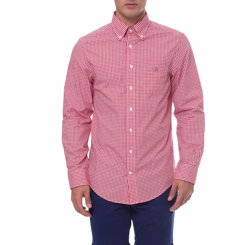 GANT - Ανδρικό πουκάμισο Gant κόκκινο ανδρικά ρούχα πουκάμισα μακρυμάνικα