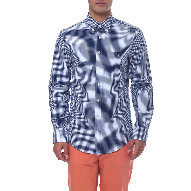 GANT - Ανδρικό πουκάμισο Gant μπλε-λευκό ανδρικά ρούχα πουκάμισα μακρυμάνικα