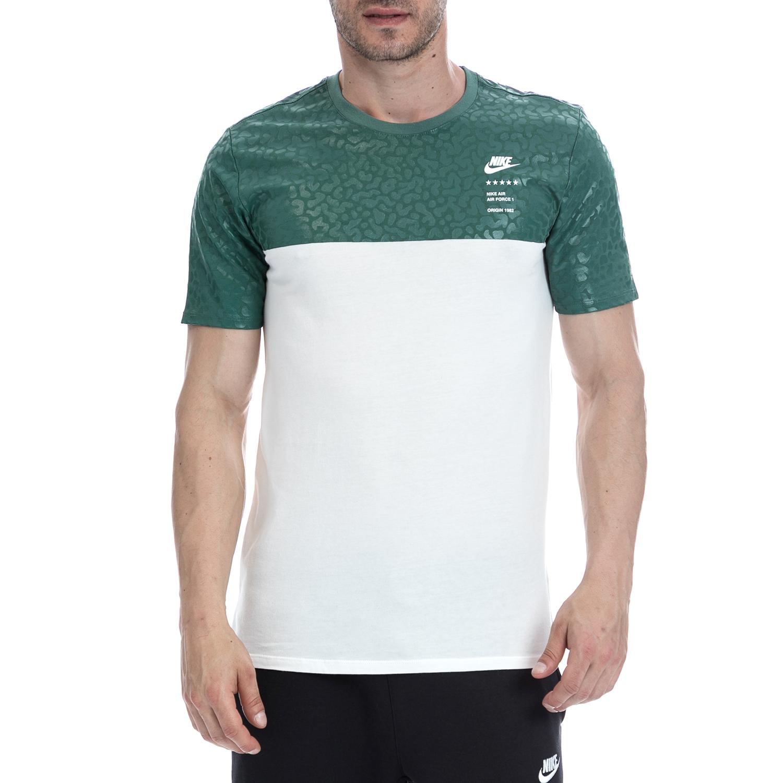 NIKE - Ανδρική μπλούζα NIKE λευκή-πράσινη ανδρικά ρούχα αθλητικά t shirt