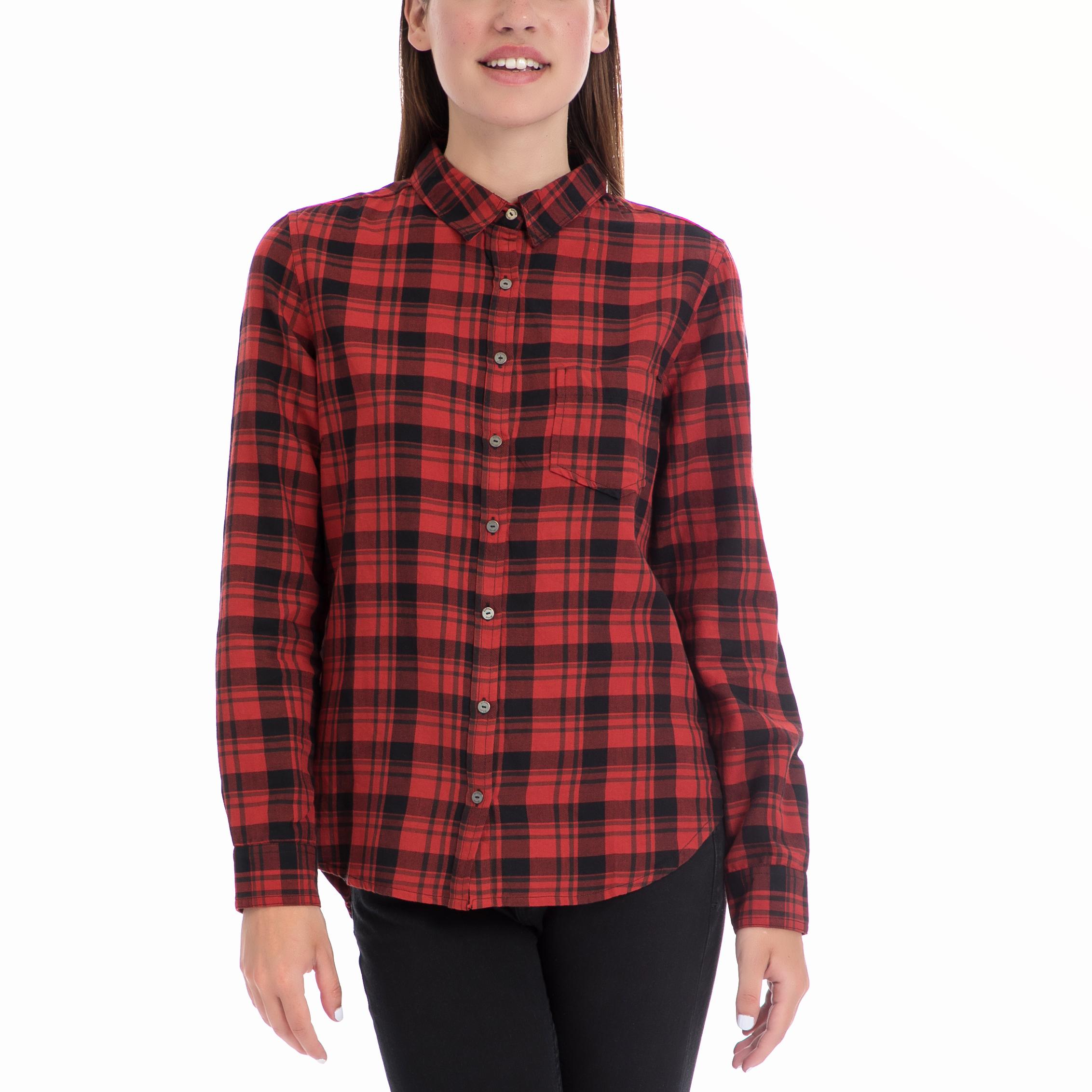 GARCIA JEANS - Γυναικείο πουκάμισο Garcia Jeans κόκκινο-μαύρο γυναικεία ρούχα πουκάμισα μακρυμάνικα