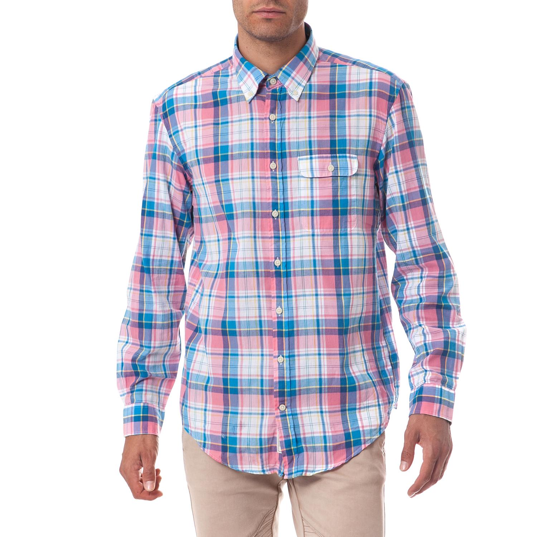 GANT - Ανδρικό πουκάμισο Gant μπλε-ροζ ανδρικά ρούχα πουκάμισα μακρυμάνικα