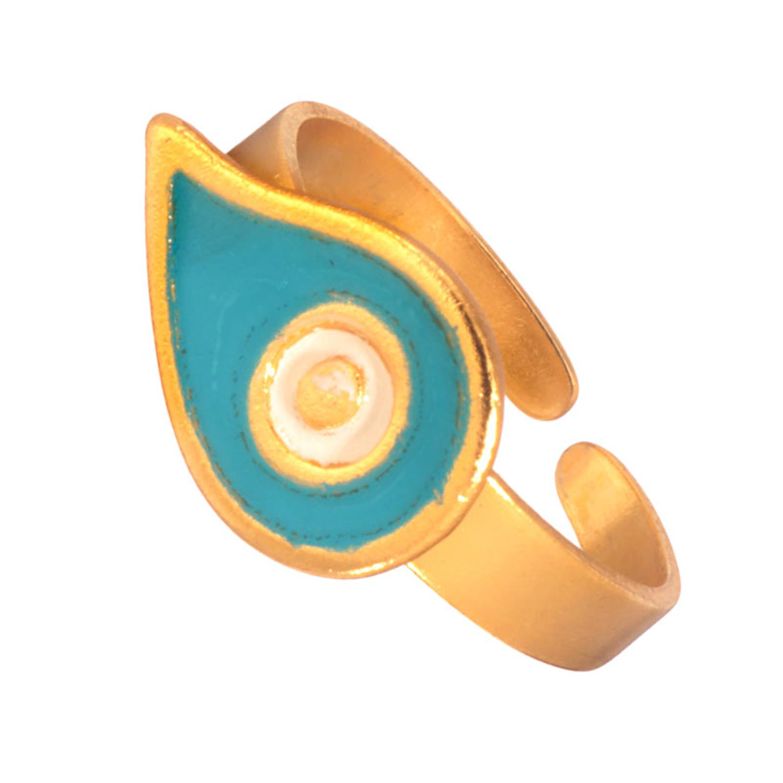 JEWELTUDE – Γυναικείο επίχρυσο δαχτυλίδι Μάτι Σταγόνα