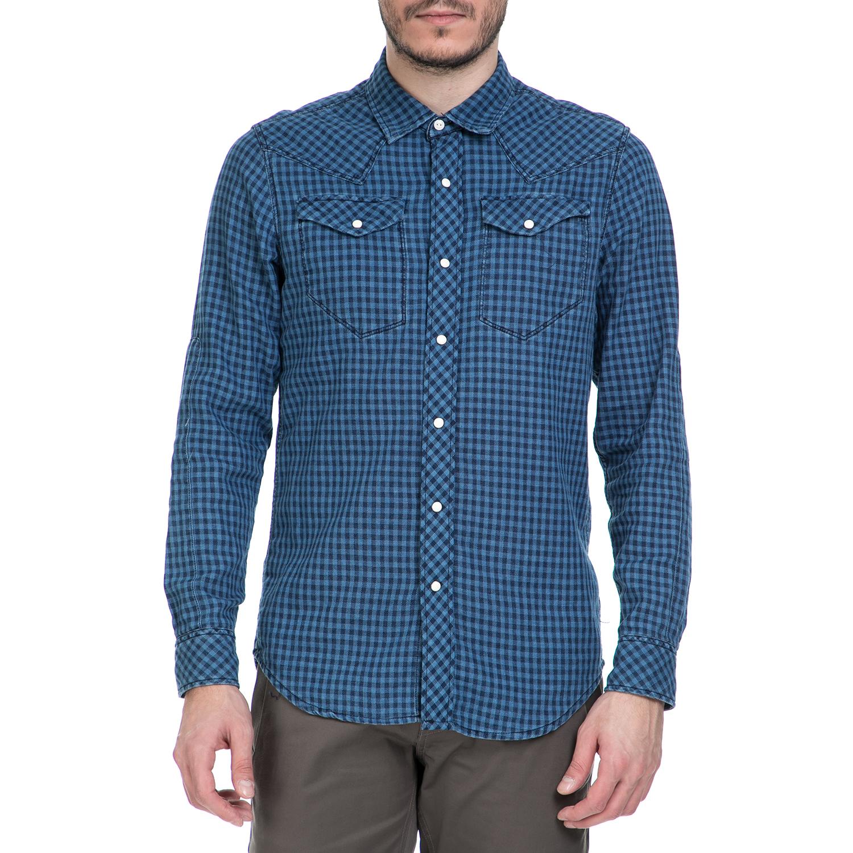 G-STAR RAW - Ανδρικό μακρυμάνικο πουκάμισο G-Star Raw Tacoma Shirt μπλε καρό